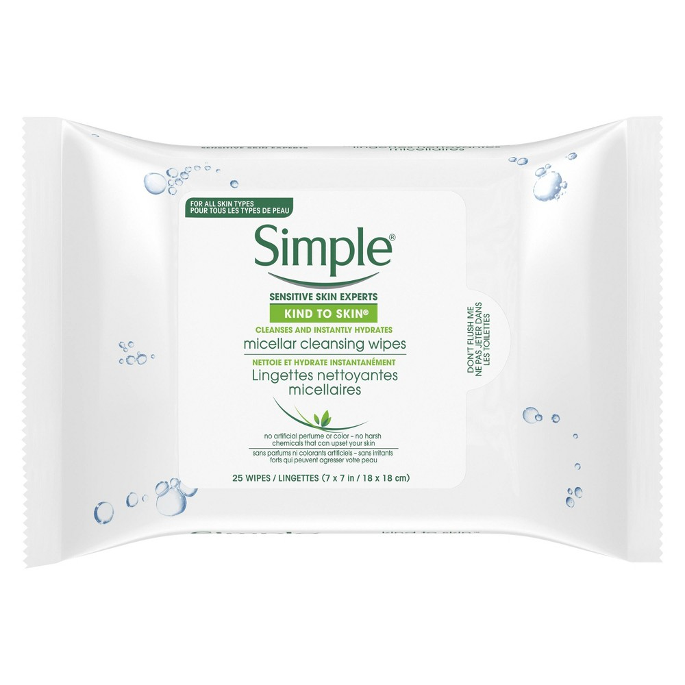 Image of Unscented Simple Kind to Skin Micellar Makeup Remover Wipes - 25ct
