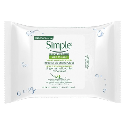Unscented Simple Kind to Skin Micellar Makeup Remover Wipes - 25ct - image 1 of 9