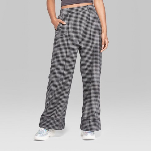 919b466b6f Women's Plaid Wide Leg Cuffed Trouser - Wild Fable™ Black/White : Target