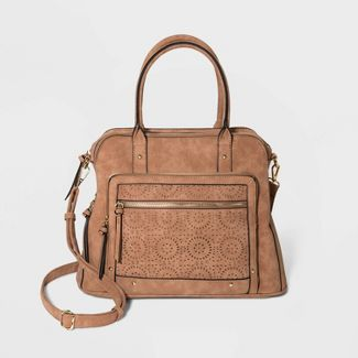 VR NYC Laser Cut Satchel Handbag - Cognac