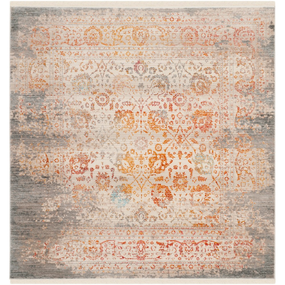 5'X5' Floral Loomed Square Area Rug Gray - Safavieh