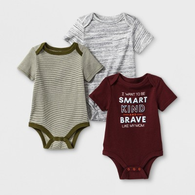 Baby Boys' 3pk  Like Mom  Short Sleeve Bodysuit - Cat & Jack™ Gray/Maroon 6-9M