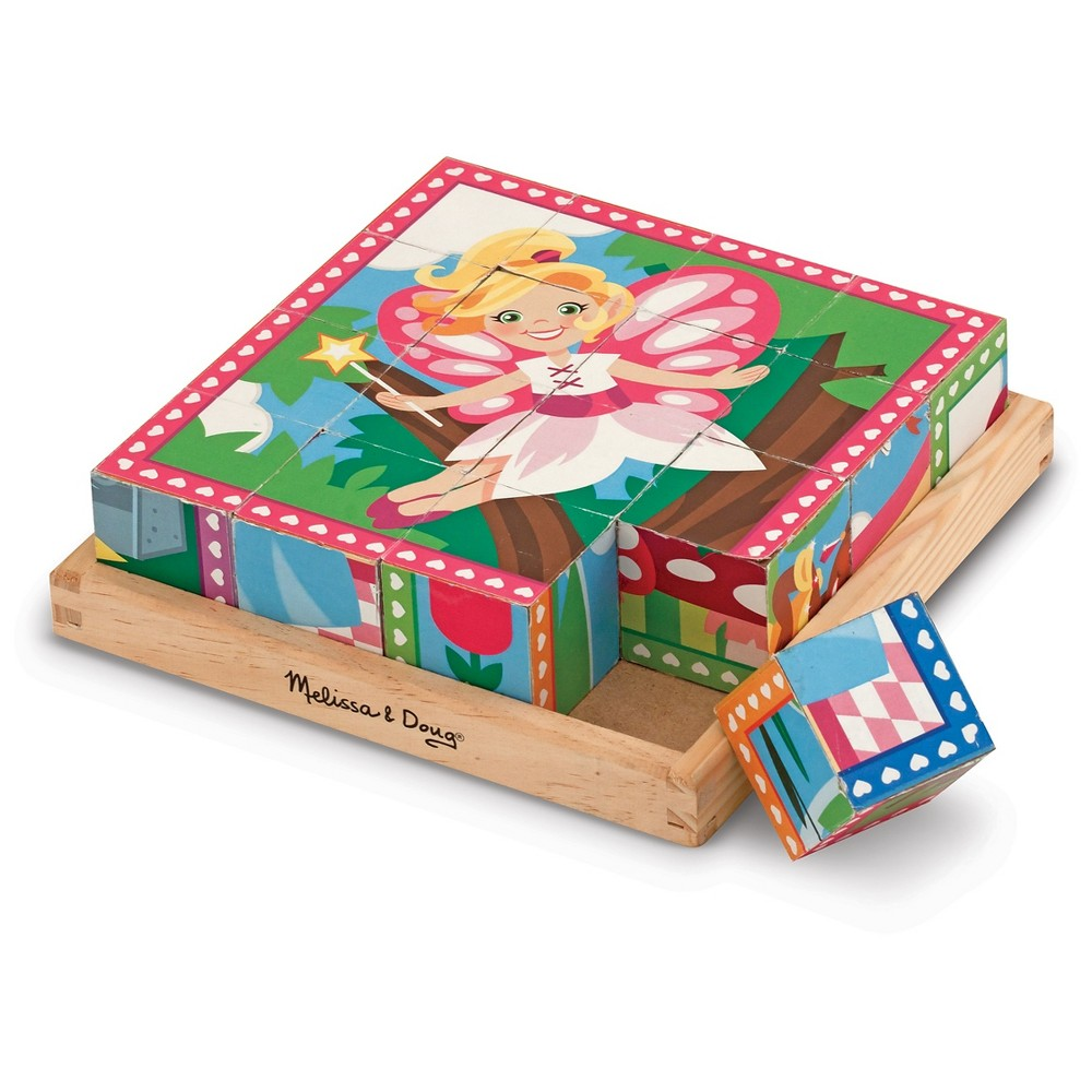 Melissa & Doug Princess and Fairy Wooden Cube Puzzle - 6 Puzzles in 1 (16pc)