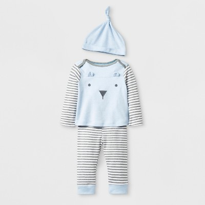 Baby Boys' Bear Top and Bottom Set with Hat - Cloud Island™ Blue 0-3M