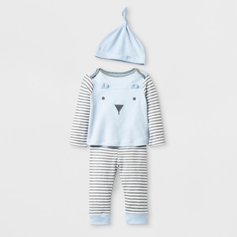 Baby Boys' Bear Top and Bottom Set with Hat - Cloud Island™ Blue - image 1 of 2