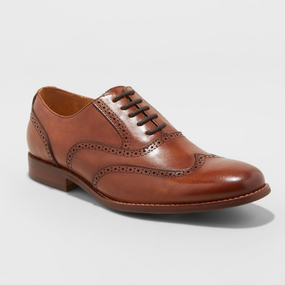 Men's Leather Oxford Wingtip Dress Shoes - Goodfellow & Co Tan 9.5, Brown