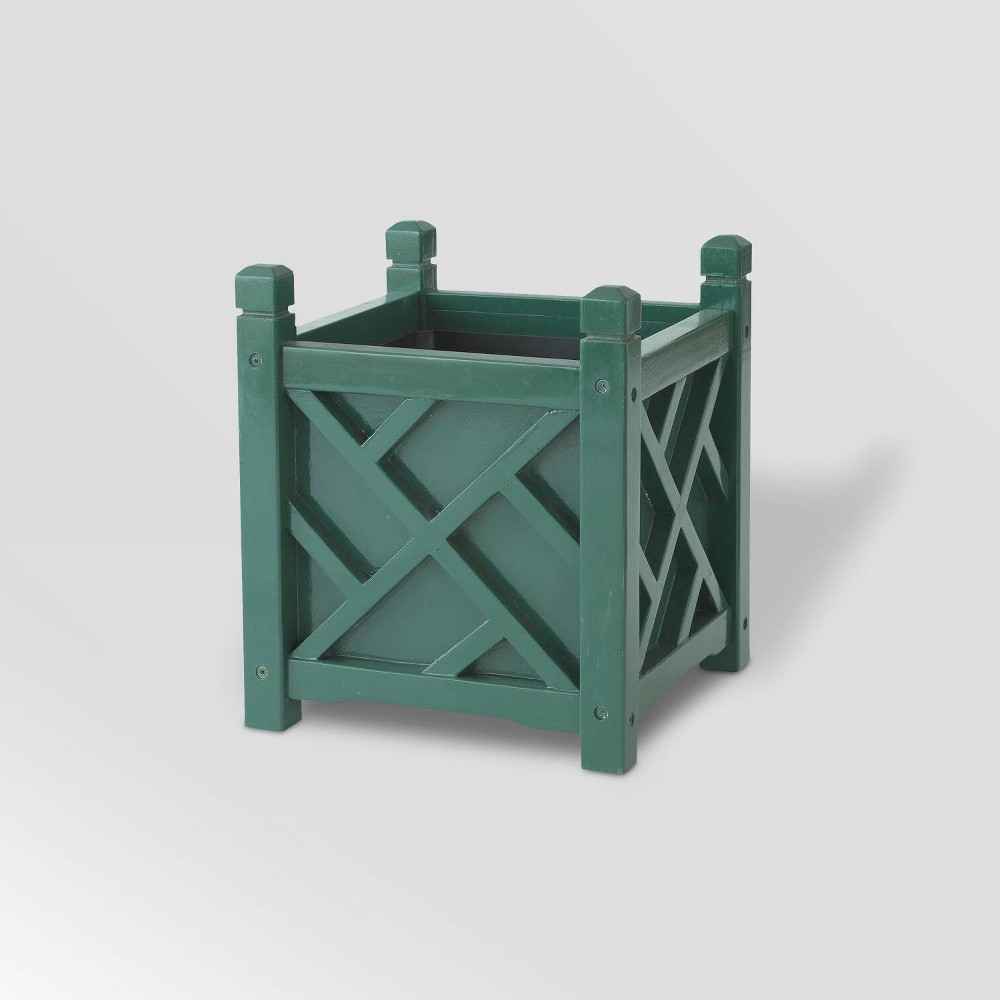 "Image of ""14"""" Wooden Chippendale Square Planter Hunter Green - DMC Products"""