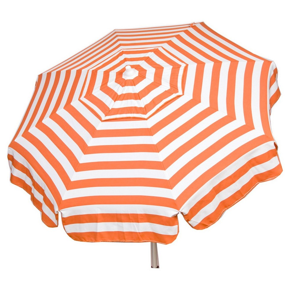 Bar Height Pole 6' 8 Umbrella Acrylic Stripes Orange and White - Parasol, Orange And White Stripe