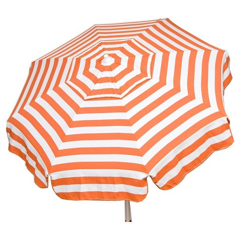 ade64352a 6' Patio Italian Umbrella Acrylic Stripes - Orange and White - Parasol