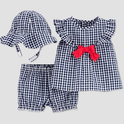 Baby Girls' Gingham Top & Bottom Set with Hat - Just One You® made by carter's Blue Newborn