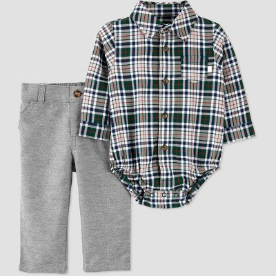 Baby Boys' 2pc Plaid Top & Bottom Set - Just One You® made by carter's Burgundy 3M