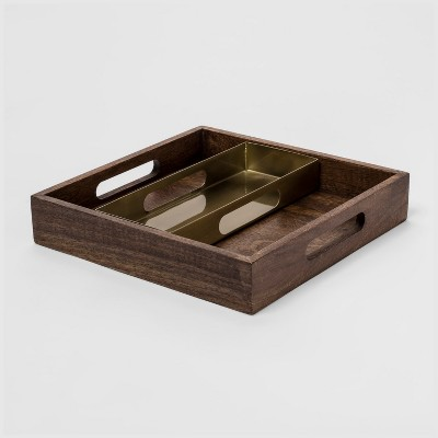 11  x 11  Decorative Wood and Metal Nested Tray Brown/Gold - Project 62™