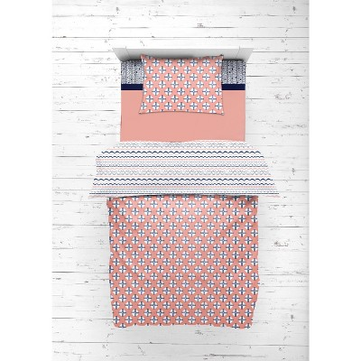 Bacati - Olivia Coral Navy 4 pc Toddler Bedding Set