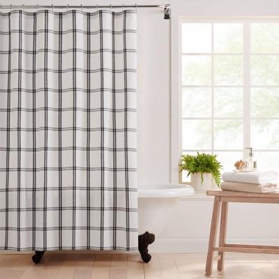 "Farmhouse Living Double Windowpane Plaid Fabric Shower Curtain  - 72"" x 72"" - Elrene Home Fashions"