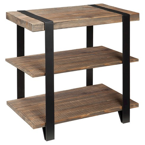 "27"" 2-Shelf End Table Metal Strap and Reclaimed Wood Brown - Alaterre Furniture® - image 1 of 3"
