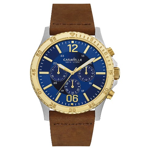 Caravelle New York by Bulova Men's Chronograph Brown Leather Strap Watch - 45A135 - image 1 of 1