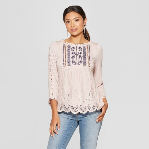 a59ae4422963a Women s 3 4 Sleeve Crew Neck Blouse - Knox Rose™ Pink   Target