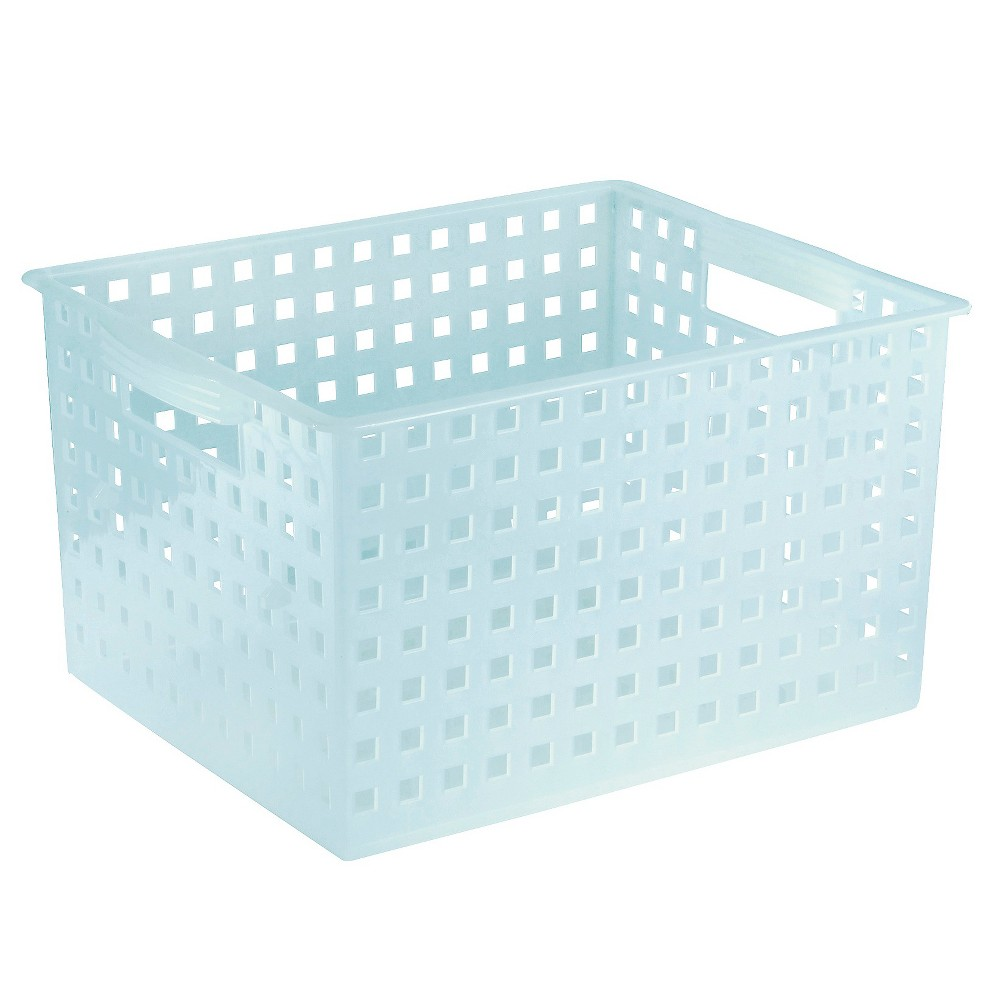 Image of Interdesign Bath & Spa Plastic Storage Basket - Polished Water (Large), Blue