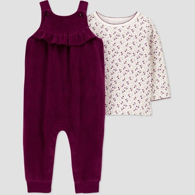 Baby Girls' 2pc Floral Overall Top & Bottom Set - Just One You® made by carter's Wine Red/Off-White 12M