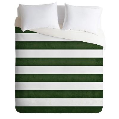 Monika Strigel Farmhouse Shabby Stripes Green Duvet Cover