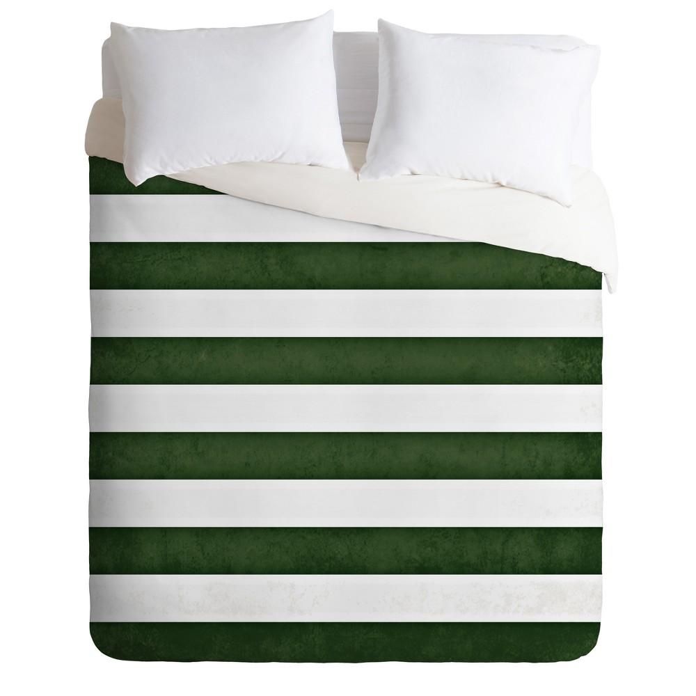 Green Stripes Monika Strigel Farmhouse Duvet Cover Set (King) - Deny Designs