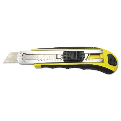 Boardwalk® Rubber-Gripped Retractable Snap Blade Knife Straight-Edged Black/Yellow UKNIFE25