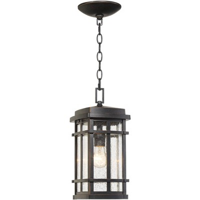 """John Timberland Mission Outdoor Ceiling Light Hanging Oil Rubbed Bronze 14 1/2"""" Clear Seedy Glass Exterior House Porch Patio Deck"""