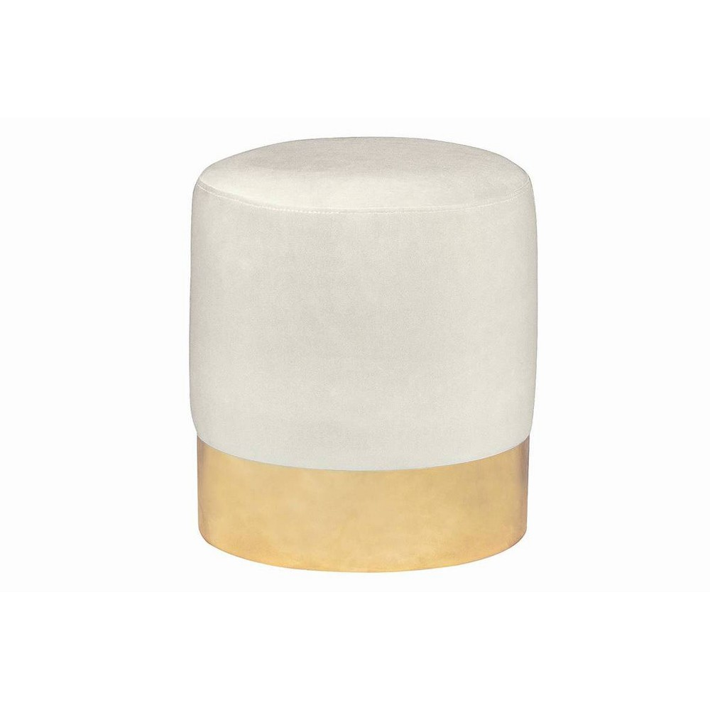 Image of Palm Springs Metal Base Ottoman Cream - Fresh Industries, Ivory