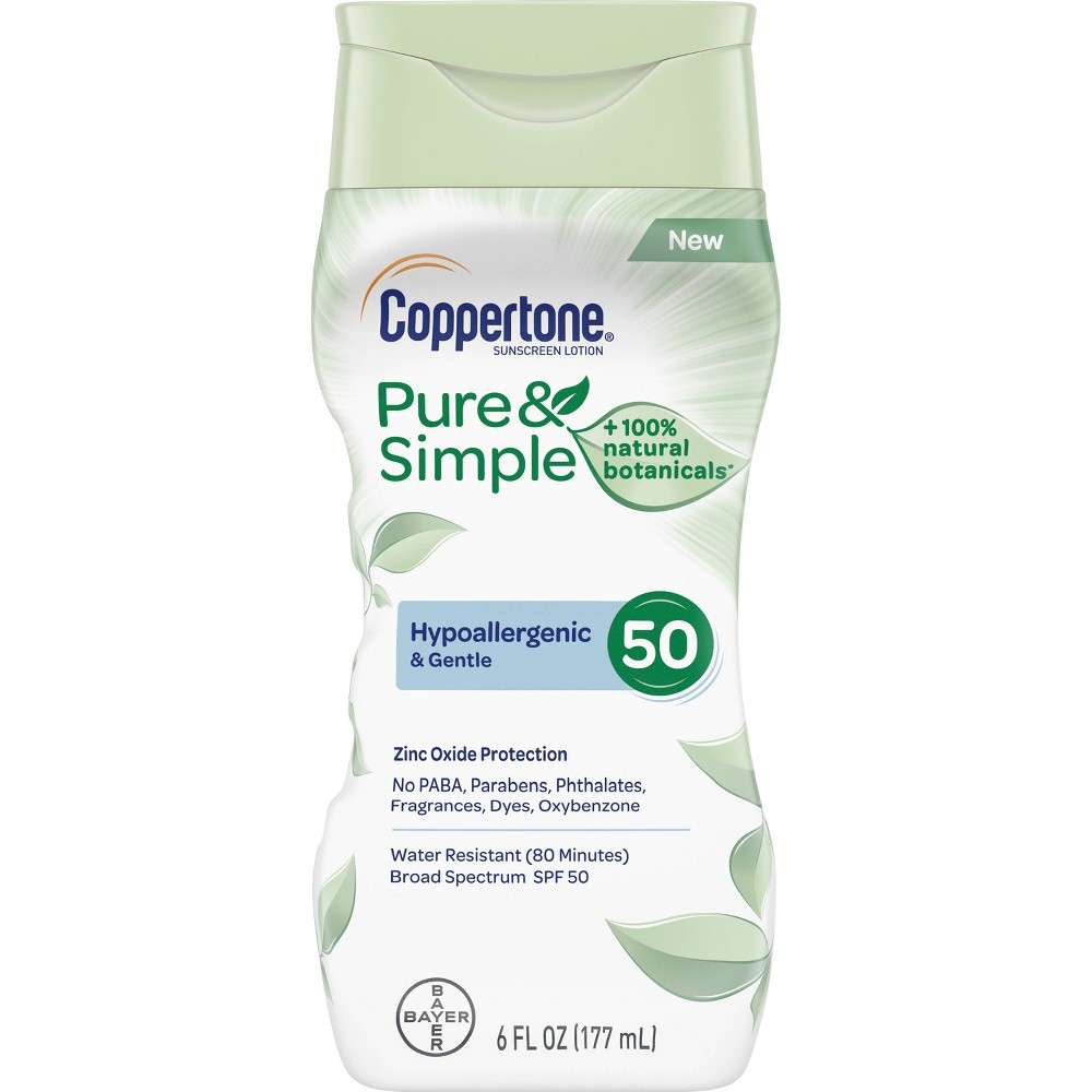Image of Coppertone Pure & Simple Sunscreen Lotion - SPF 50 - 6 fl oz