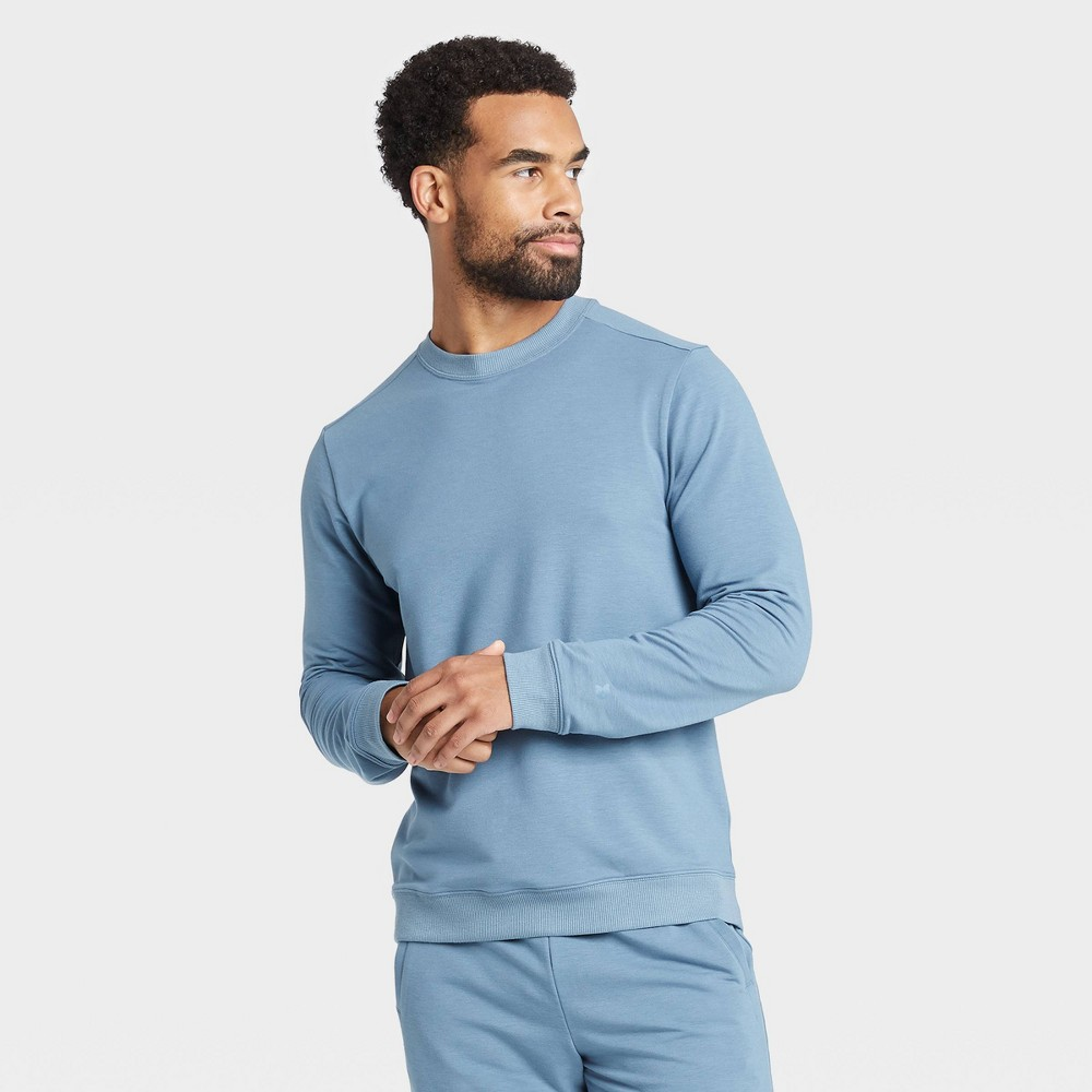 Men's Soft Gym Crew Sweatshirt - All in Motion Blue Gray S was $28.0 now $14.0 (50.0% off)