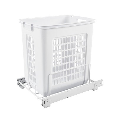 Rev-A-Shelf HPRV-15020 S Large 20-Inch Deep Cabinet Floor Steel Mounted Pullout Polymer Plastic Clothes Laundry Hamper w/ Full Extension Slides, White