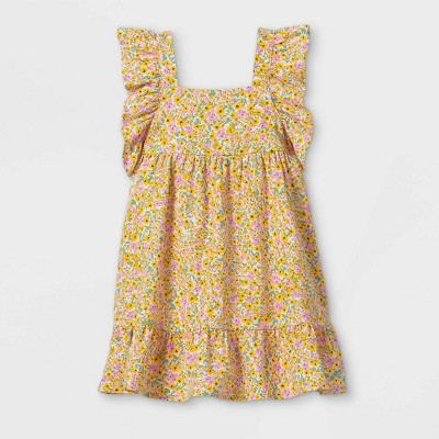 Toddler Girls' Floral Ruffle Sleeve Dress - Cat & Jack™ Yellow
