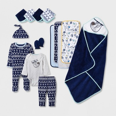 Baby Boys' 15pc  Take Me Home  Layette & Bath Set - Cloud Island™ Blue 0-3M