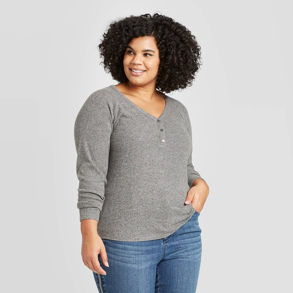 Women's Plus Size Long Sleeve Henley Neck Cozy Rib Shirt - Universal Thread Gray 2X, Women's, Size: 2XL was $17.99 now $12.59 (30.0% off)