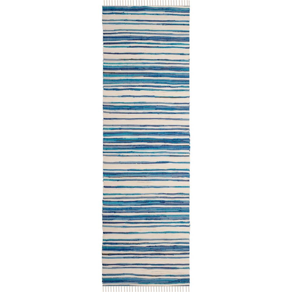 2'3X9' Stripe Woven Runner Ivory/Blue - Safavieh