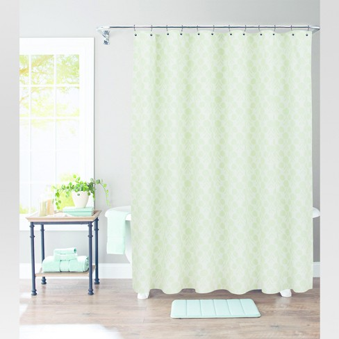 Suzani Stamp Shower Curtain Morning Frost