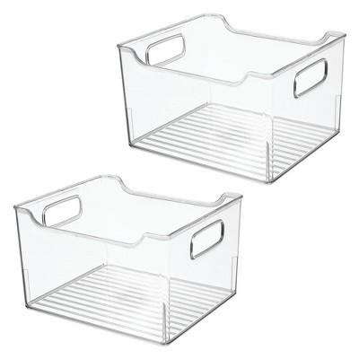 mDesign Plastic Bathroom Vanity Storage Organizer Bin, Handles, 2 Pack - Clear
