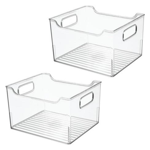 Mdesign Plastic Bathroom Vanity Storage Organizer Bin Handles 2 Pack Clear Target