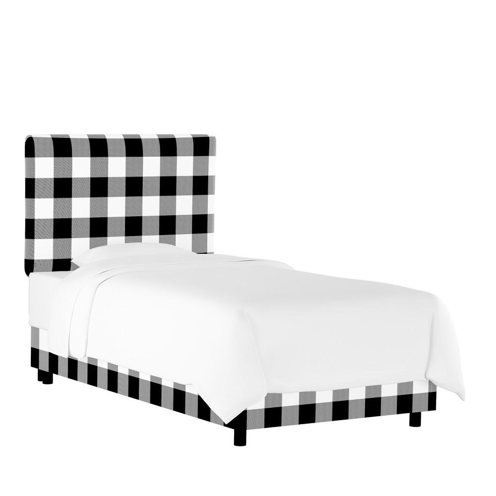Kids Printed Upholstered Bed Full Black/White Plaid - Pillowfort