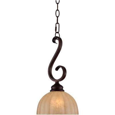 "Franklin Iron Works Golden Bronze Mini Pendant Light 8"" Wide Rustic Iron Scroll Amber Glass Shade Fixture for Kitchen Island"