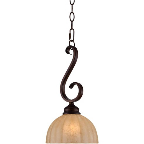 """Franklin Iron Works Golden Bronze Mini Pendant Light 8"""" Wide Rustic Iron Scroll Amber Glass Shade Fixture for Kitchen Island - image 1 of 4"""