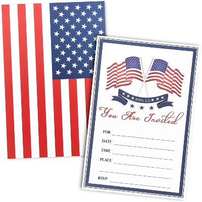 "36-Pack American Flag Fill-in Invitation with Envelopes for Patriotic Veterans Party, Military Graduation, 5""x7"""