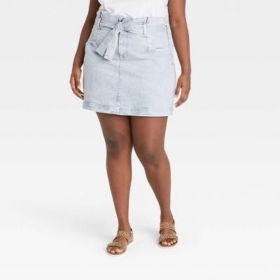 Women's High-Rise Tie-Waist Denim Mini Skirt - Universal Thread™