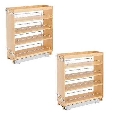 Rev-A-Shelf Base Cabinet Pullout Organizer with Wood Adjustable Shelves (2 Pack)