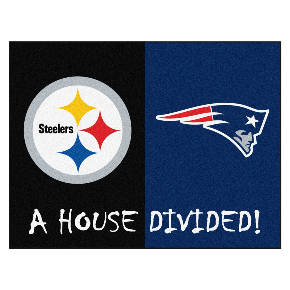 NFL Pittsburgh Steelers/New England Patriots House Divided Rug 33.75