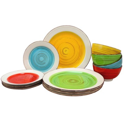 Gibson Home 12pc Ceramic Confetti Mix and Match Dinnerware Set