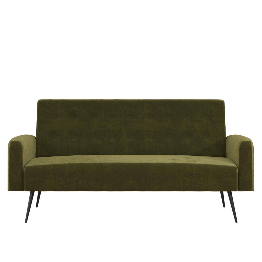 Image of Stevie Futon Convertible Sofa Bed Couch Green Velvet - Novogratz