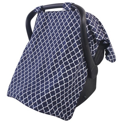 Hudson Baby Infant Girl Reversible Car Seat and Stroller Canopy, Navy Trellis, One Size