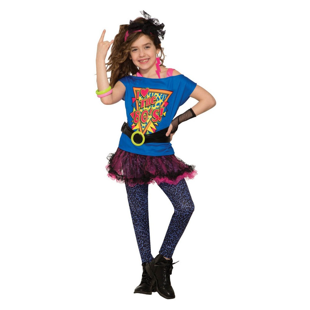 Image of Halloween Girls' Totally 80's Halloween Costume L, Girl's, Size: Large, MultiColored