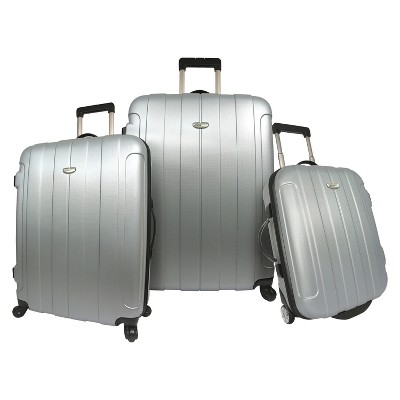 Traveler's Choice Rome 3pc Hardside Spinner/Rolling Luggage Set - Silver